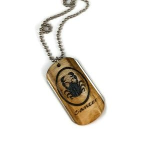 Cancer Zodiac Wood and Stainless Steel Dogtag